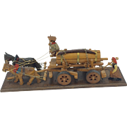 Quebec Folk Art Carving of a Farming Couple with Horses and Wagon.