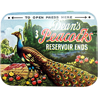 Vintage Dean's Peacocks Condoms Tin - NOS