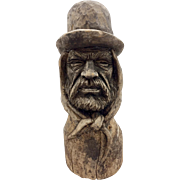 Folk Art Hand Carved Wood Bust of a Man