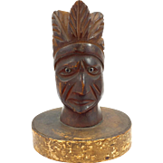 Hand Carved Pipe Top of an Indian Chief on a Base