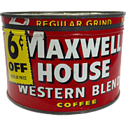 Vintage Maxwell House Coffee Tin c.1938