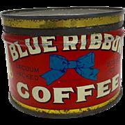 Vintage Small Blue Ribbon Coffee Tin