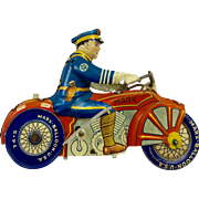 Marx 1935 Tin Police Motorcycle Toy