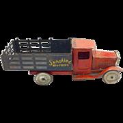 Vintage Metalcraft Pressed Steel Sunshine Biscuit Truck c. 1930's