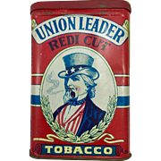 Union Leader Redi Cut Pocket Tobacco Tin - Uncle Sam Version with White Background