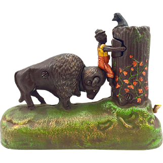 "Mechanical Bank - ""The Buffalo and The Boy"" From the Book of Knowledge Series"
