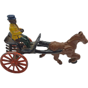 Vintage Cast Iron Man and Horse Drawn Cart Toy