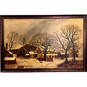 "Folk Art Painting of ""The Old Inn - Winter"""