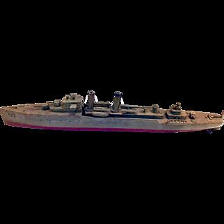 Folk Art Carving of USS Kearny Battleship