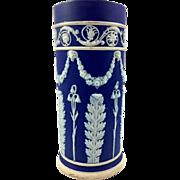 Wedgwood Dark Blue Dip Jasperware Spill Vase