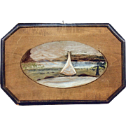 Folk Art Wall Plaque of Tipi by Lake