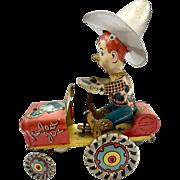 Rodeo Joe Tin Wind Up Car c. 1930's