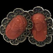 Vintage 14K Gold Mediterranean Salmon Engraved Coral Cameo Cufflinks