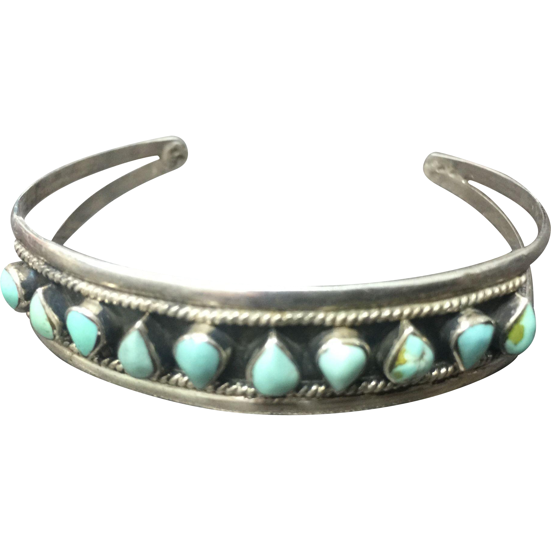 vintage sterling silver and turquoise cuff bracelet from. Black Bedroom Furniture Sets. Home Design Ideas
