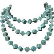 "46"" Stunning Blue Cube Gilson Turquoise Beaded Necklace"