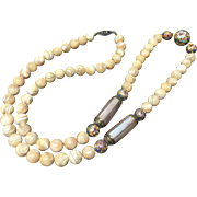 Amazing Vintage Mother Of Pearl Bead  with Cloisonné Necklace 31.5 Inches Long