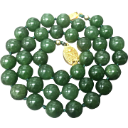 "Vintage Green Nephrite Jade Beaded Hand Knotted with Filigree Gold Plate Clasp 19"" Necklace"