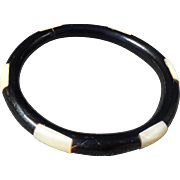 Vintage Black Coral with mother of Pearl inlaid Bangle Bracelet