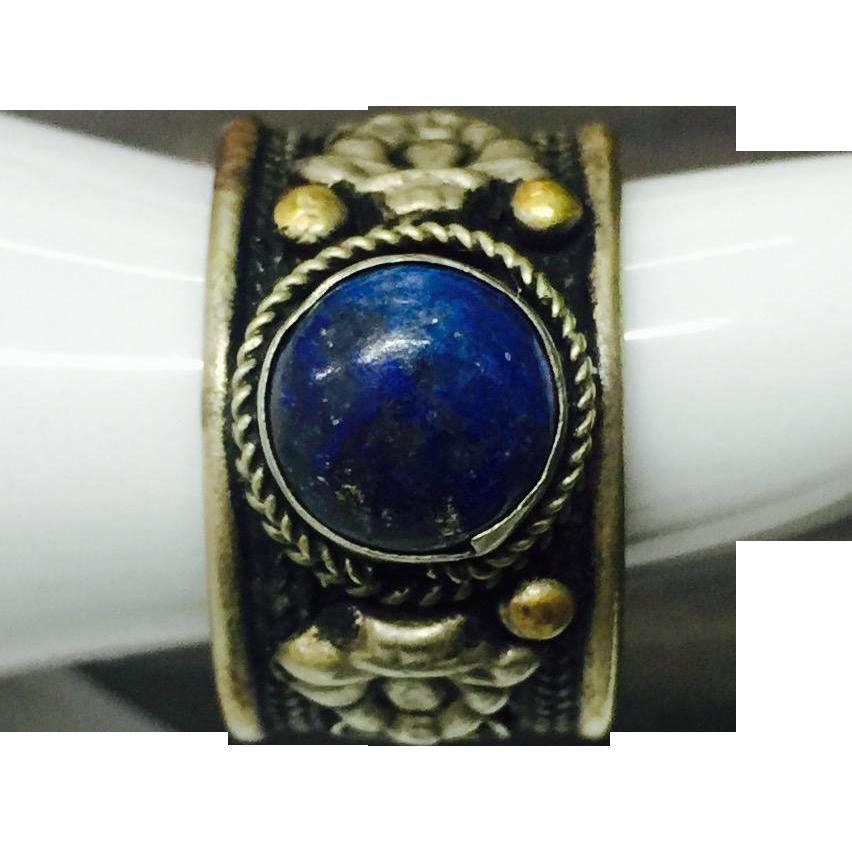 vintage filigree lapis lazuli adjustable ring from grace