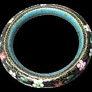 Rare Vintage Black/Blue  Chinese Cloisonne Bangle Bracelet