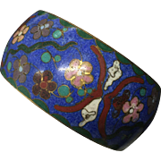 Vintage Chinese Blue Cloisonne Floral Wide Bangle Bracelet