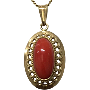 Vintage 14K Yellow Gold with Red Coral Cabochon Pendant