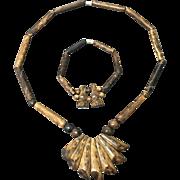 Vintage Golden/Black Coral Necklace and Bracelet Set