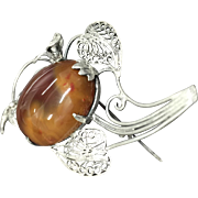 Vintage Filigree 800 Silver with Oval Red and Yellow Agate Cabochon Pin Brooch
