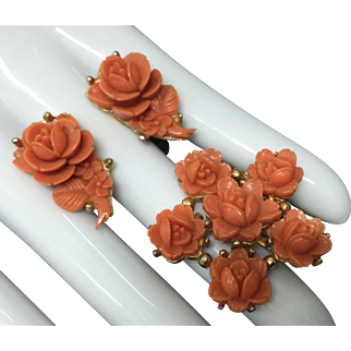 Vintage Coro Faux Coral  Flower Earrings and Brooch Pin Set