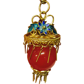 Stunning Vintage Chinese 14k Yellow Gold Filigree Enamel with Carnelian Ball Pendant