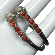 Stunning Vintage Natural Red Coral Sterling Silver Earrings