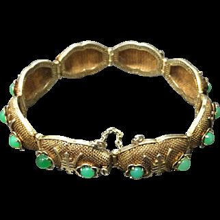 Chinese Vintage Silver Gilt Filigree Green Chalcedony Bracelet