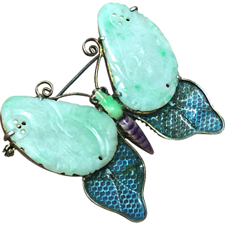 Antique Chinese Natural Jadeite Jade Butterfly Brooch in Silver Enamel Setting