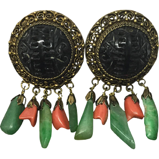 Antique Chinese Gilt Silver Filigree Black Carved SHOU and Bat with Natural Jadeite Jade and Coral Dangle Earrings