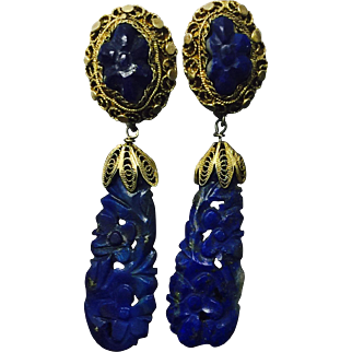 Antique Chinese Gilt Silver Filigree Carved Lapis Lazuli Dangle Earrings