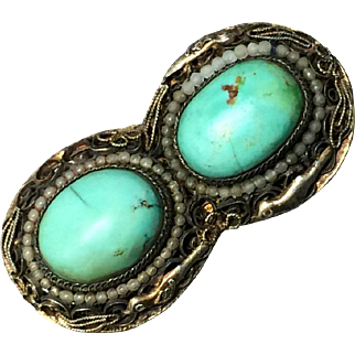 Antique Chinese Gilt Filigree Silver with Natural Turquoise Cabochon Pin Brooch