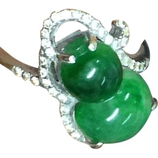 Stunning Diamond with Natural Icy Green Jadeite Jade 18K White Gold Ring Size 6.5