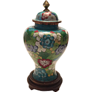 Vintage Chinese Cloisonné Vase with Base
