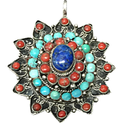 Vintage 800 Silver with Natural Coral Turquoise and Lapis Pendant