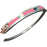 Vintage Sterling Silver Abalone Bangle Bracelet