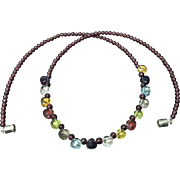 Beautiful Beaded Garnet with Different Color Faceted Pear Shape Crystal Necklace