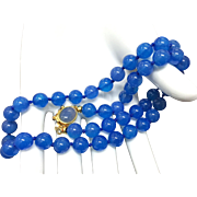 Magnificent Blue Translucent Carnelian Agate Hand Knotted Beaded Necklace with Gild 800 Silver Clasp