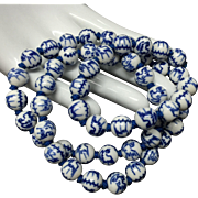 Hand Knotted Chinese Import Blue and White Porcelain Beaded Necklace with Sterling Silver Clasp