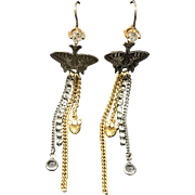 Vintage Juicy Couture Gold Plated Rhinestone Dangle Chandelier Earrings