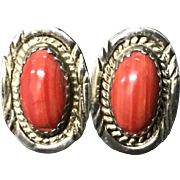 Vintage Sterling Silver with Oval Cabochon Glass Earrings