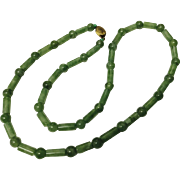 Vintage Chinese JADE Beads and Tubes Necklace