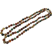 Vintage Very Long Natural Multi Color Agate Carnelian and Jade Beaded Hand-Knotted Necklace