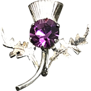 Vintage Scottish Thistle Style Sterling Silver Amethyst Pin/Brooch
