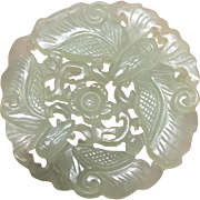 Spectacular Chinese Vintage Double Side Hand Carved Celadon Jade Butterflies with Flower Large Pendant