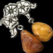 Unique Vintage Genuine Baltic Butterscotch Amber Sterling Silver Pendant